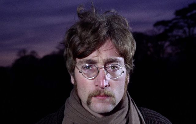 John Lennon filming a promotional video for 'Strawberry Fields Forever'.