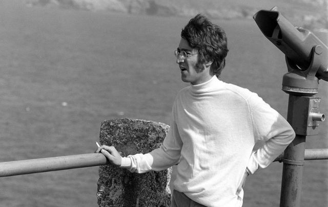 John Lennon posed in Newquay filming Magical Mystery Tour.