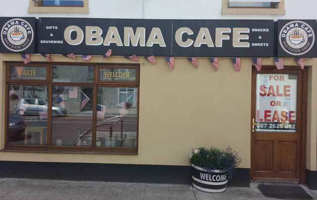 The Obama Cafe in Moneygall has closed down and is for sale.