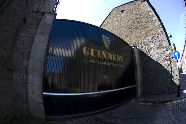Front gate of Guinness brewery at St James' Gate in Dublin