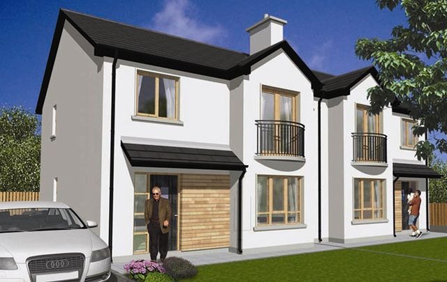 An artist's rendition of the three-bedroom semi-detached home in the Rann Mór Meadow development a few minutes walk from the center of Donegal's biggest town, Letterkenny.