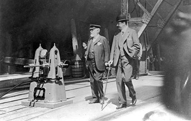Bruce Ismay and William Pirrie inspecting RMS Titanic before is launch on 31 May 1911.