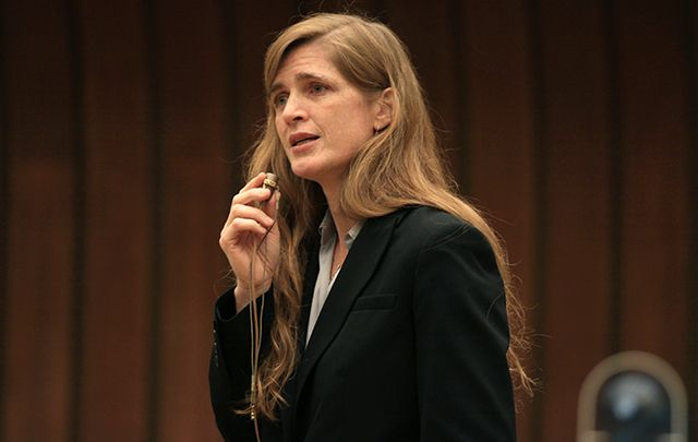 Samantha Power speaking at an event at the United Nations Office at Geneva on June 1, 2010.