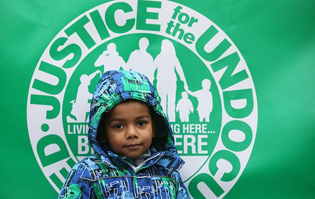 Pictured are friends, and supporters of undocumented adults and children on St. Patrick's Day 2015.