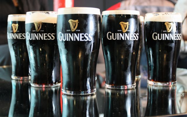 Guinness lined up after being poured