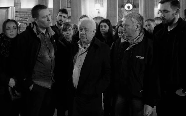 "Home Sweet Home - Director Jim Sheridan (center) among Irish stars to lend their fame to Dublin revolution against rampant homelessness. Act of ""civil disobedience"" highlights plight of growning number of homeless in Ireland."
