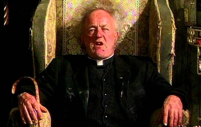 The late great Frank Kelly, as his most famous character Father Jack, in Father Ted.