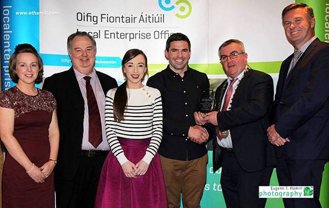 Rucksnacks received the Best Startup award at the 2016 at Monaghan IBYE Awards. Pictured (l-r) Eilín Connolly, John McEntegart, Genna and Colm Connolly (Rucksnacks), Cllr. PJ O'Hanlon, Chairman of Monaghan County Council, and Eamonn O'Sullivan, CEO Monaghan County Council.