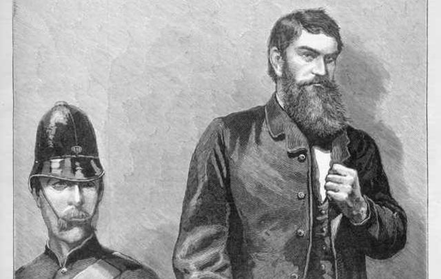 """Ned Kelly in the Dock - A Scene from Life\"" Ned Kelly in the dock during his trial. Wood engraving published in The Illustrated Australian News."