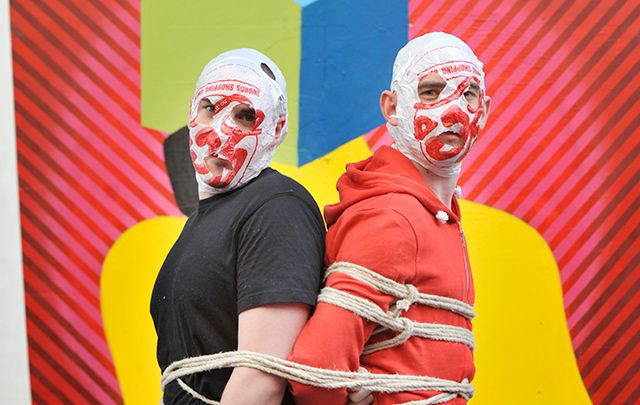 The Rubberbandits pictured outside the Project Arts Centre in Dublin in 2012.