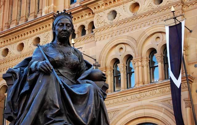 The statue outside the Queen Victoria building in Sydney, Australia.