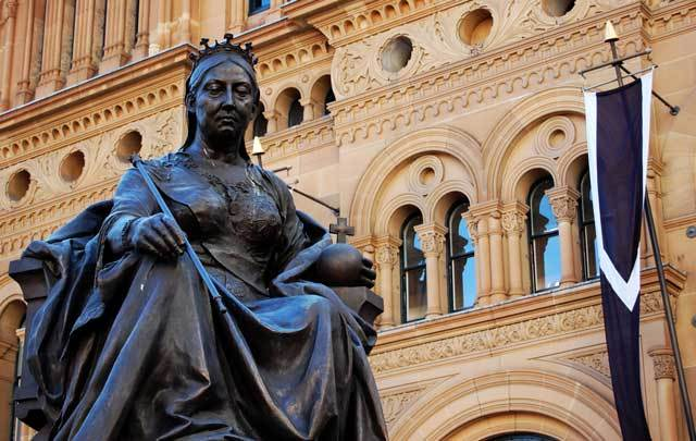 The statue outside the Queen Victoria building in Sydney, Australia.