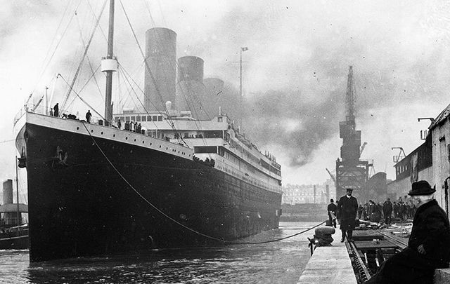 The Titanic still in the docks.
