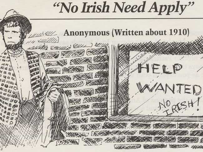 """""""No Irish Need Apply"""" – the signs and ads that vilified our Irish ancestors"""