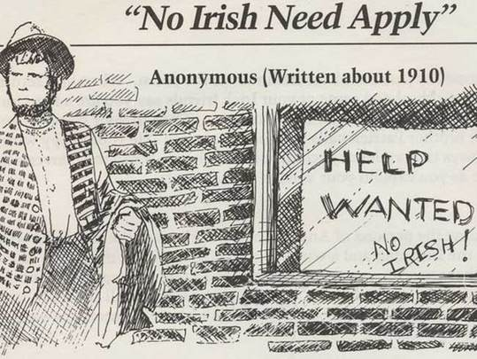 """Slideshow documents the sad, discriminatory history of \""""No Irish Need Apply\"""" signs in Boston - today home to a large, proud and successful Irish community."""