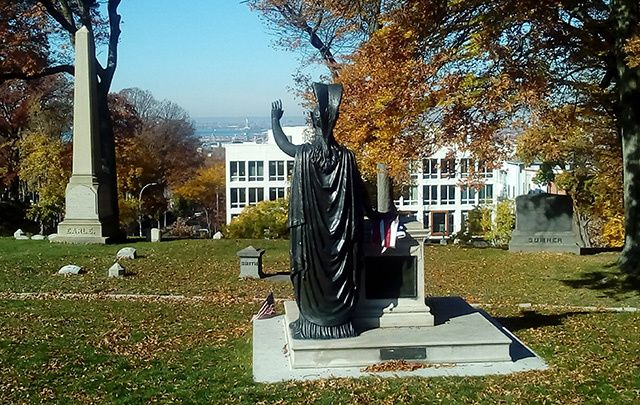 Minerva overlooking the New York harbor from Green-Wood cemetery.