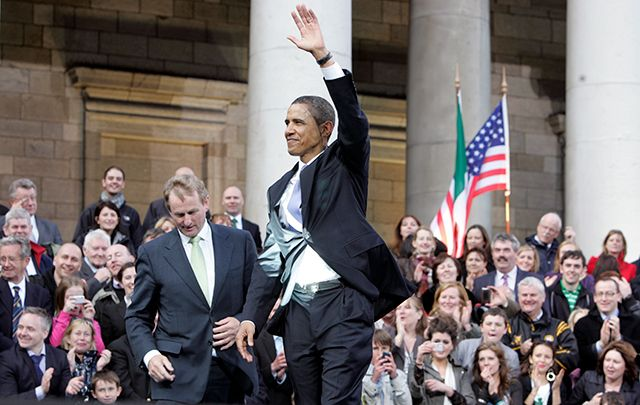 Obama at Dublin's College Green during his 2011 visit to Ireland.