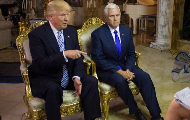 They're literally sitting on golden thrones! Donald Trump and Mike Pence.