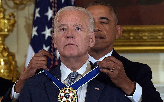 President Barack Obama presents the Presidential Medal of Freedom to Vice President Joe Biden.