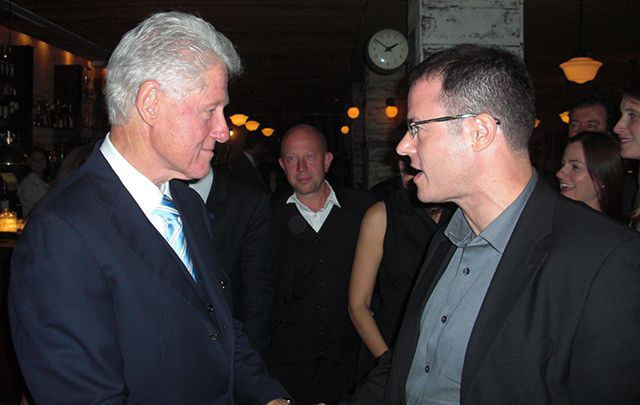 Gregory Grene of the Andrew Grene Foundation meeting with former president Bill Clinton.