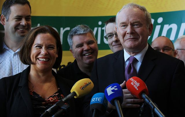 Sinn Fein leader Martin McGuinness (right), alongside Mary Lou MacDonald, speaking at a party Think In.