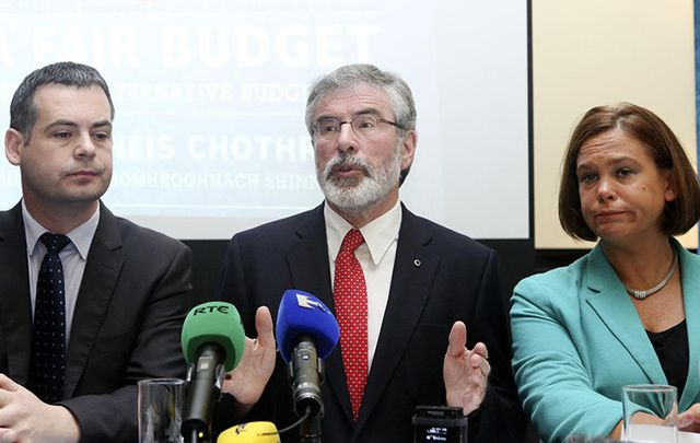 Sinn Fein\'s Pearse Doherty, Gerry Adams and Mary Lou McDonald.
