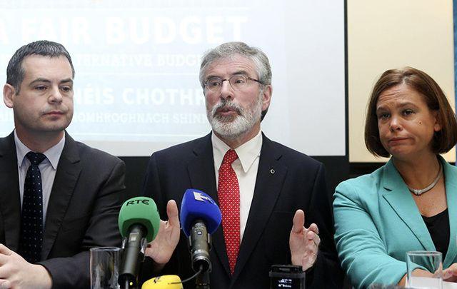 Sinn Fein\'s Pearse Doherty, Gerry Adams and Mary Lou McDonald.