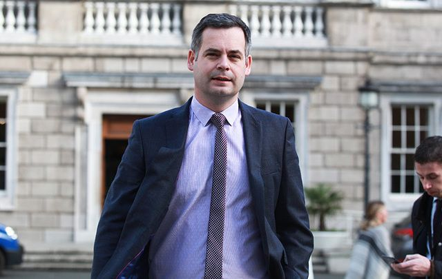 Sinn Fein\'s Pearse Doherty photographed exiting Leinster House.