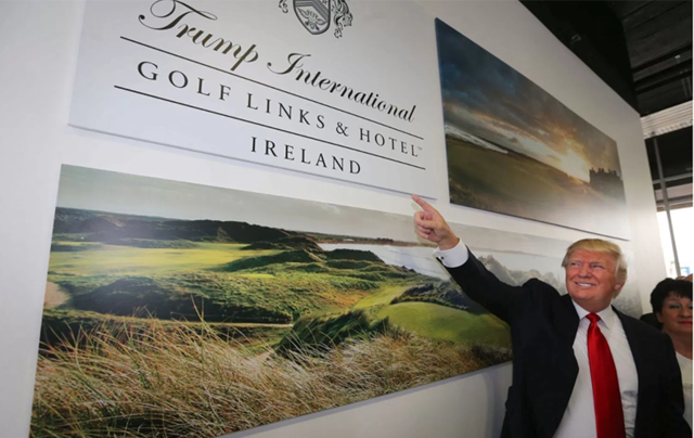 President Donald Trump admiring his Doonbeg resort, County Clare, poster.