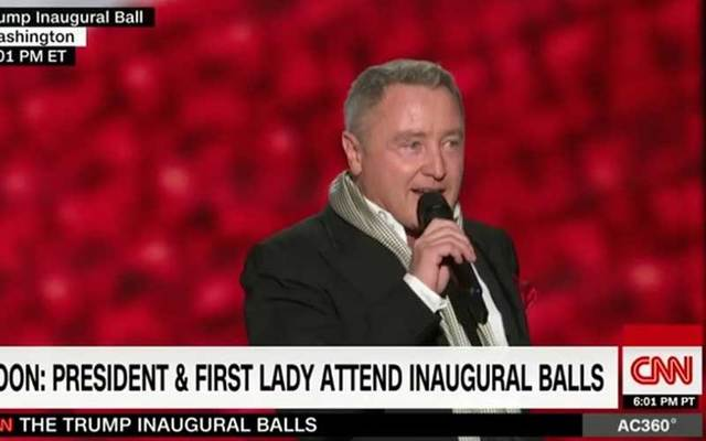 Michael Flatley introduced the dancers at the inaugural ball.