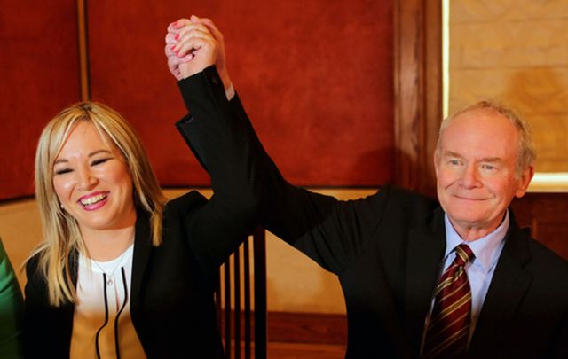 Sinn Fein's Martin McGuinness and Gerry Adams joins the health minister, Michelle O Neill, as the politician who will take over from former deputy first minister Martin McGuinness.