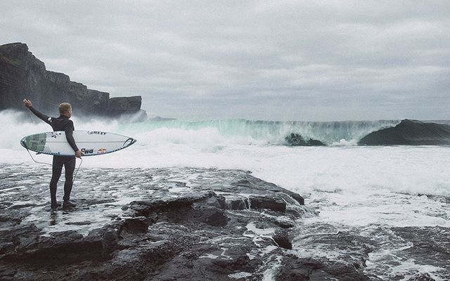You can almost feel the surf coming off the Atlantic! A still from Mick Fanning\'s Irish Crossroads.