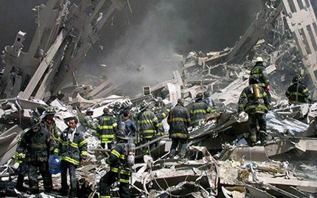 Clean up operations at the World Trade Center following the attacks on September 11, 2001.