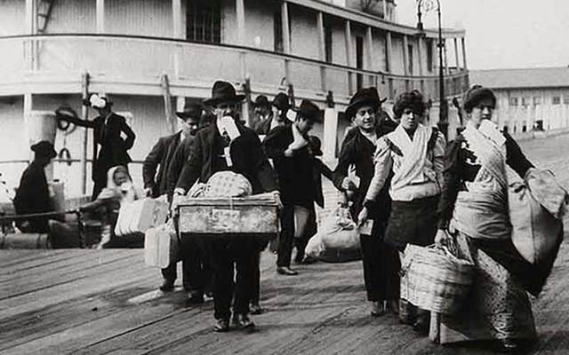 "Emigrants landing at Ellis Island, New York: The 19th century Irish wouldn't have gotten through Donald Trump's ""extreme vetting."""
