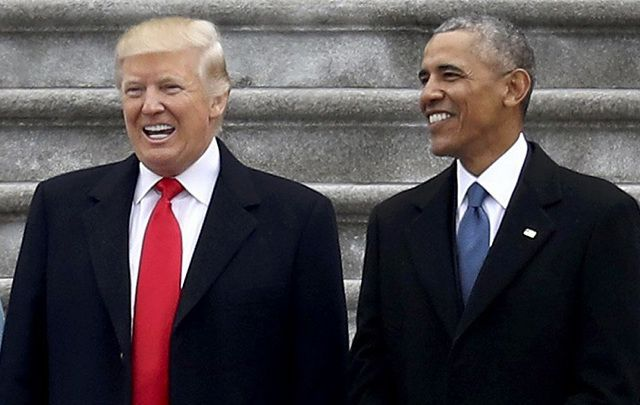 Donald Trump and Barack Obama at the inauguration on Jan 20.