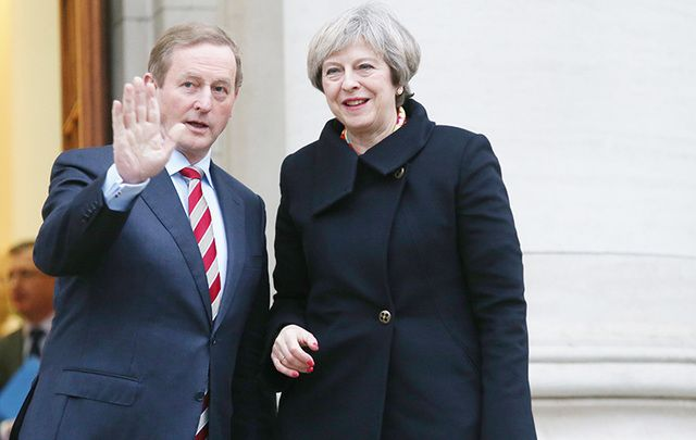 Taoiseach Enda Kenny and British Prime Minister Theresa May following a meeting on Monday night.