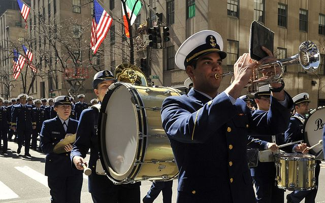 Band marches up Fifth Avenue during the St. Patrick's Day Parade.