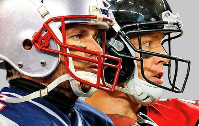 New England Patriot\'s Tom Brady and the Atlanta Falcon\'s Matt Ryan square off on the cover of the Super Bowl special Sports Illustrated.