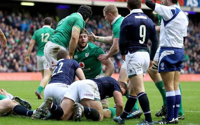 Iain Henderson is congratulated after scoring his second half try for Ireland.
