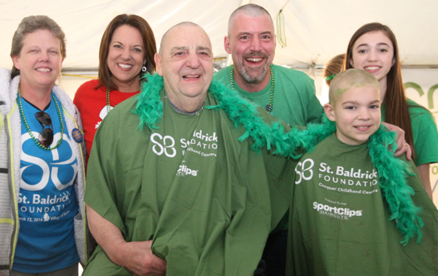 Brave folks with shaved heads! All in the aid of St. Baldrick\'s Cancer Foundation.