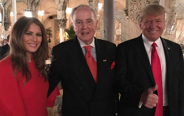 First Lady Melania Trump, Brian Burns and President Donald Trump at Mar-a-Lago on Friday evening.