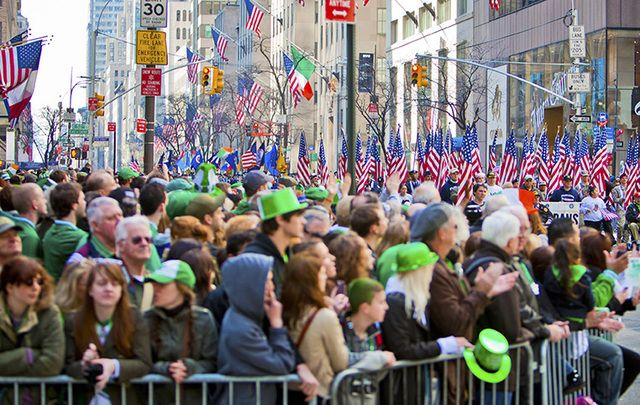 Crowds at the St. Patrick\'s Day parade.