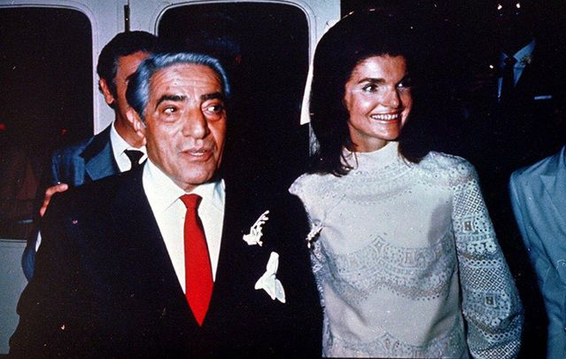 Aristotle Onassis stands with his new wife Jacqueline Kennedy, on the Island of Scorpios, in Greece.
