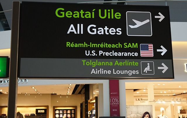 Sign for preclearance immigration at Dublin Airport.
