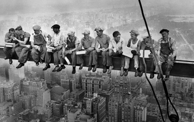 Do you approve? A new Seamless advert has parodied the photo of workmen dangling above New York City in 1932.