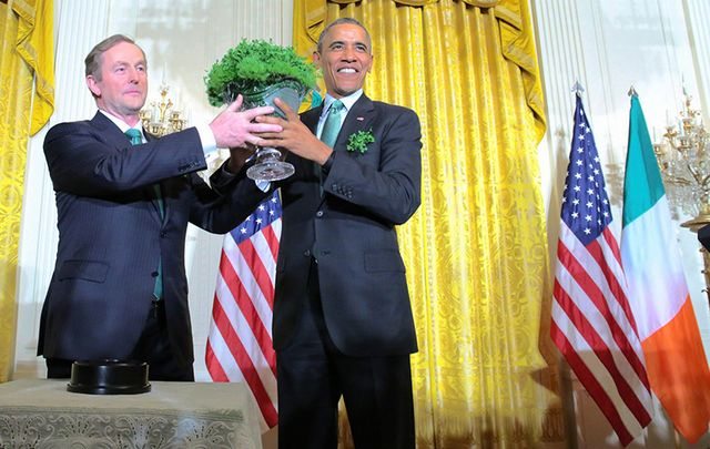 Taoiseach Enda Kenny and President Barack Obama photographed at the White House on St. Patrick\'s Day.