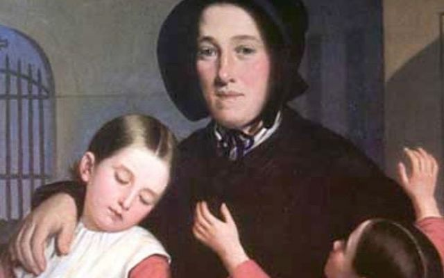 Portrait of Margaret Haughery with orphans, by J Amans.