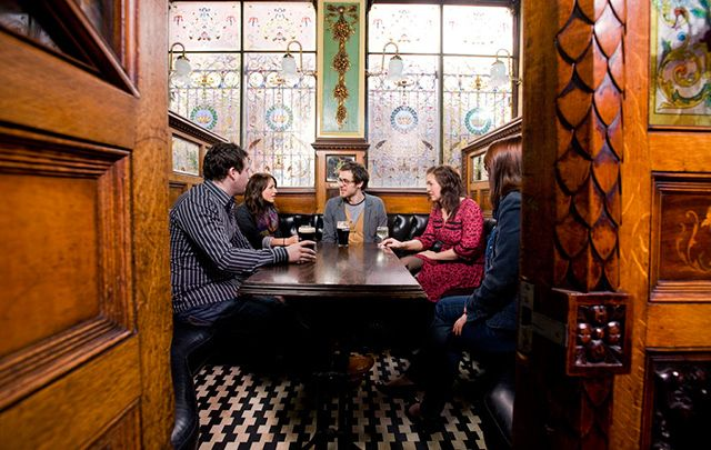 The Crown Liquor Saloon in Belfast - Sean Muldoon and Jack McGarry, the owners of New York\'s Dead Rabbit - winner of the World\'s Best Bar 2016 - will show off the best of Belfast bars in a new CNN show to air on St. Patrick\'s Day.