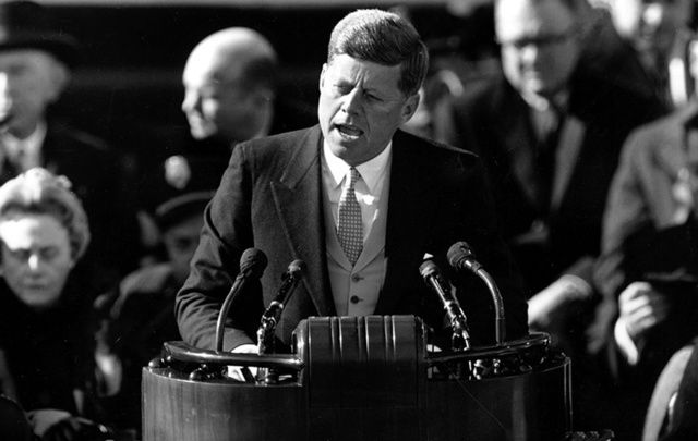 President John F Kennedy give his inauguration speech.