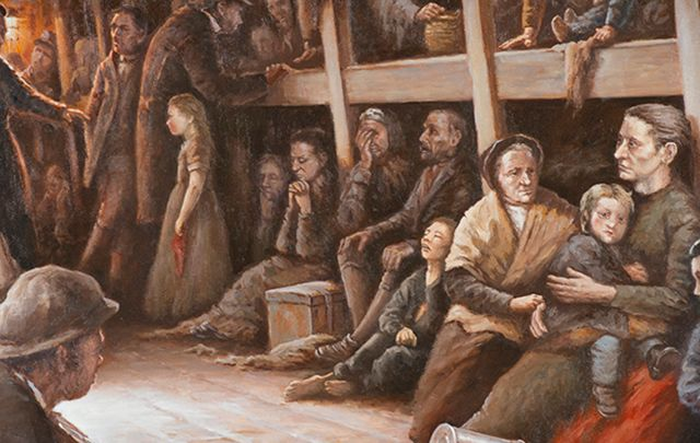 """Below Decks by Rodney Charman is just one of the heartbreaking pieces of art on display at the \""""Fleeing Famine\"""" exhibit in Knights of Columbus museum, New Havan."""